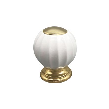 Imagen de Pomo porcelana blanco y dorado Estamp