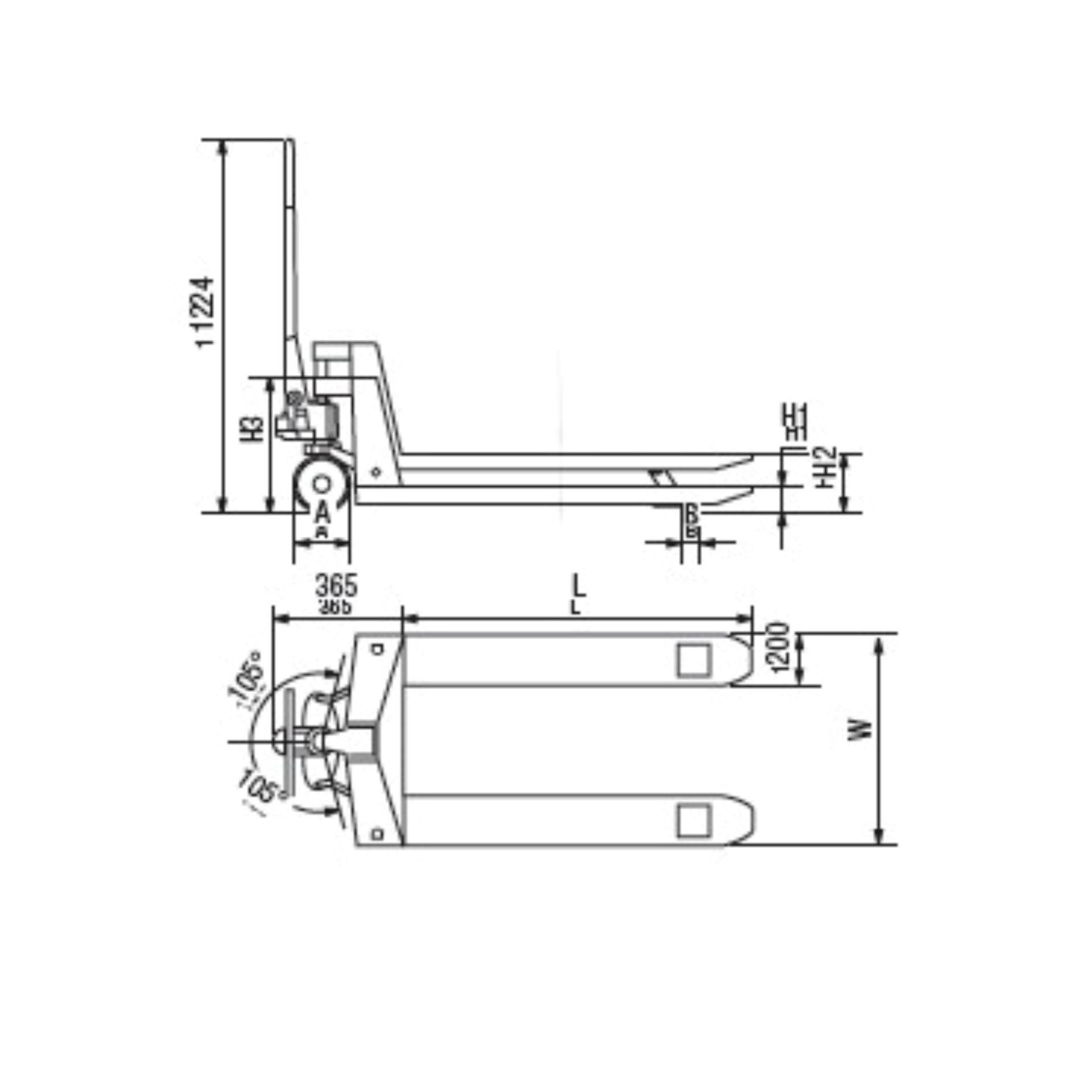 Imagen de Transpaleta acero galvanizado2.500 Kg Imcoinsa 0X16A