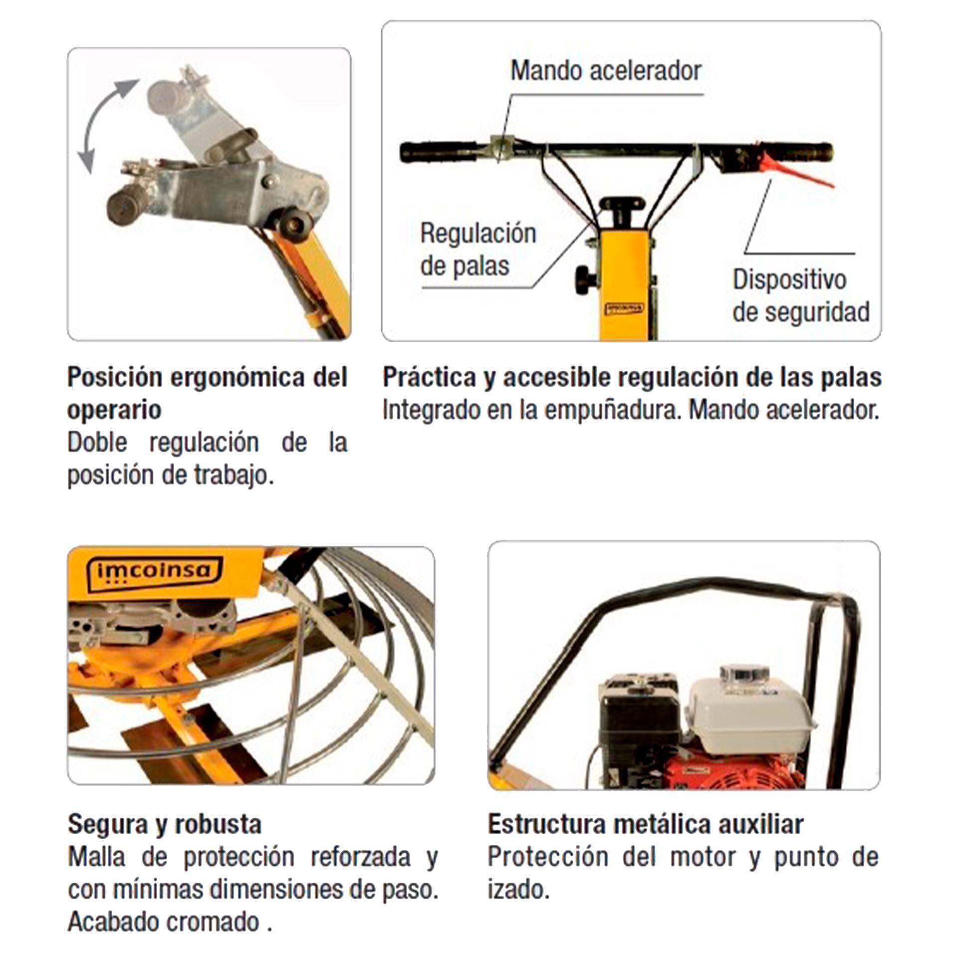Imagen de Fratasadora hormigón Imcoinsa 2A11 motor Honda 5,5 HP