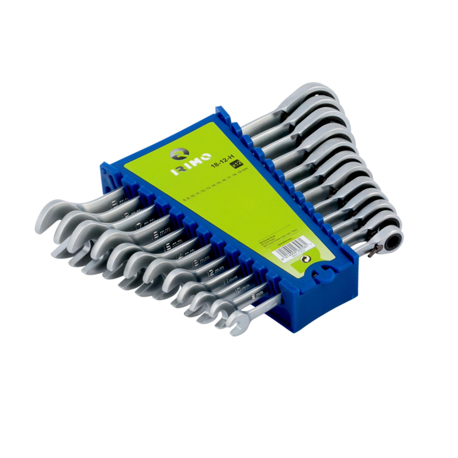 Imagen de Juego 12 llaves combinadas con carraca fija Irimo