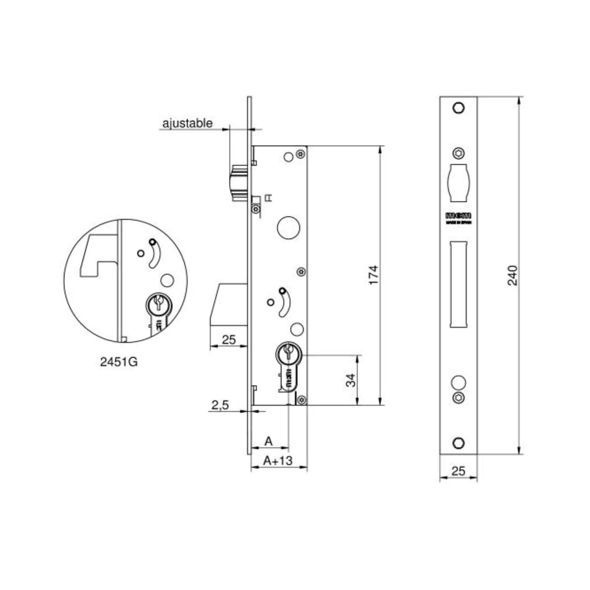 Imagen de Cerradura embutir MCM 2451-25 palanca basculante