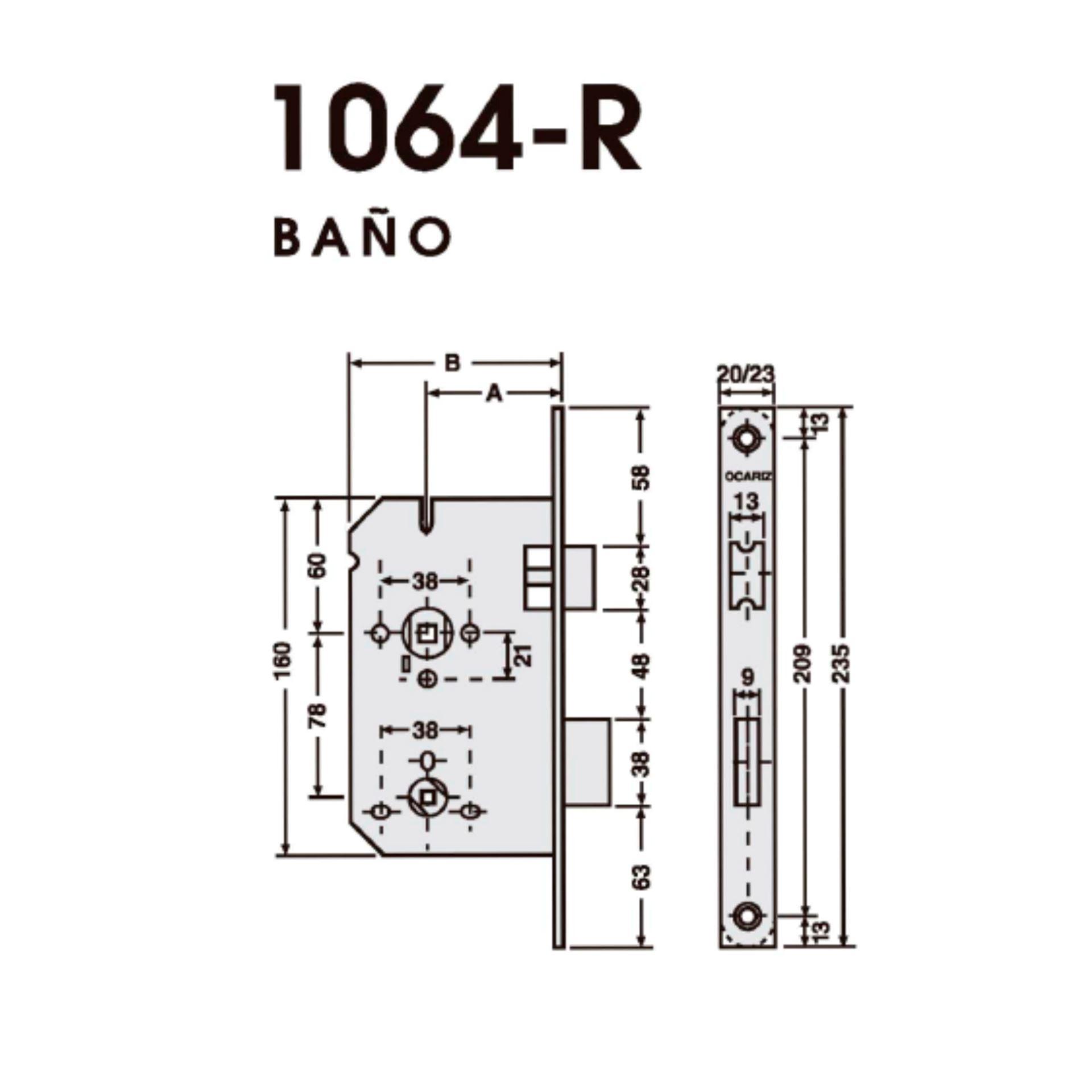 Imagen de Cerradura de embutir Ocariz 1064-R-23 inoxidable