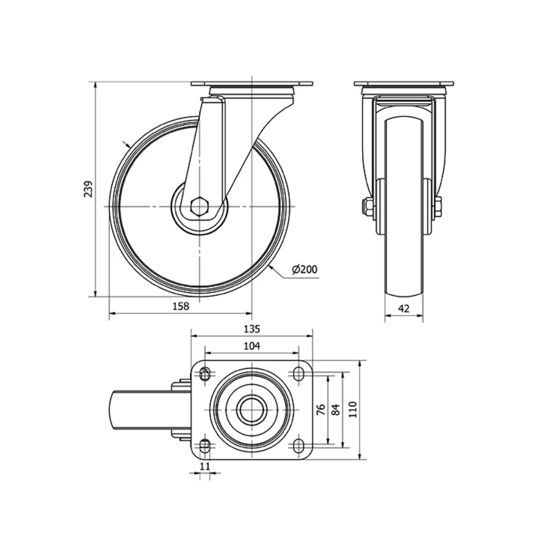 Imagen de Rueda giratoria poliamix Alex TW0046 200 mm 280 kg sin freno