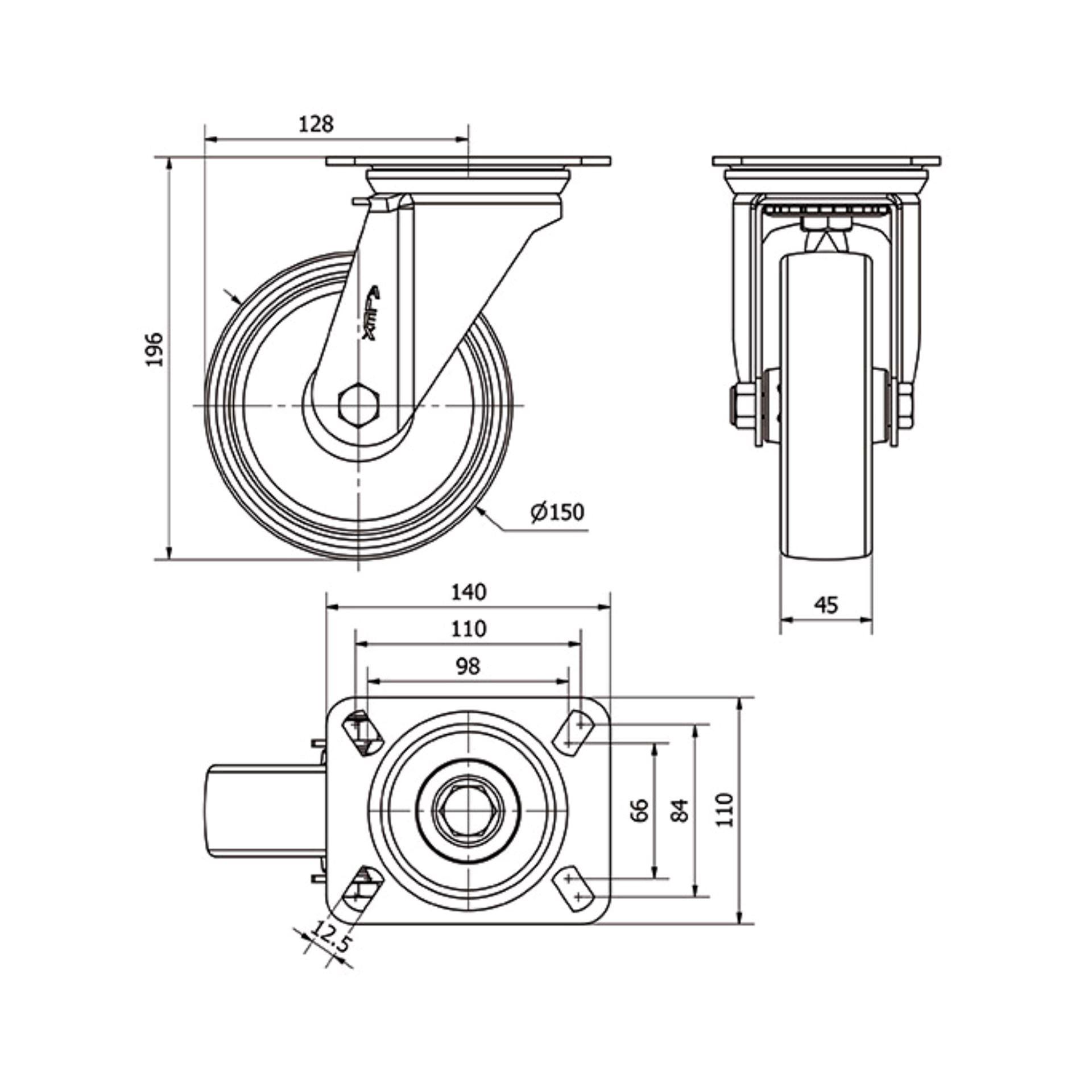 Imagen de Rueda giratoria poliamix Alex ZV-UT 150 mm 350 kg sin freno