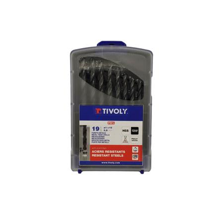 Imagen de Estuche 19 brocas para acero Tivoly 1-10 mm