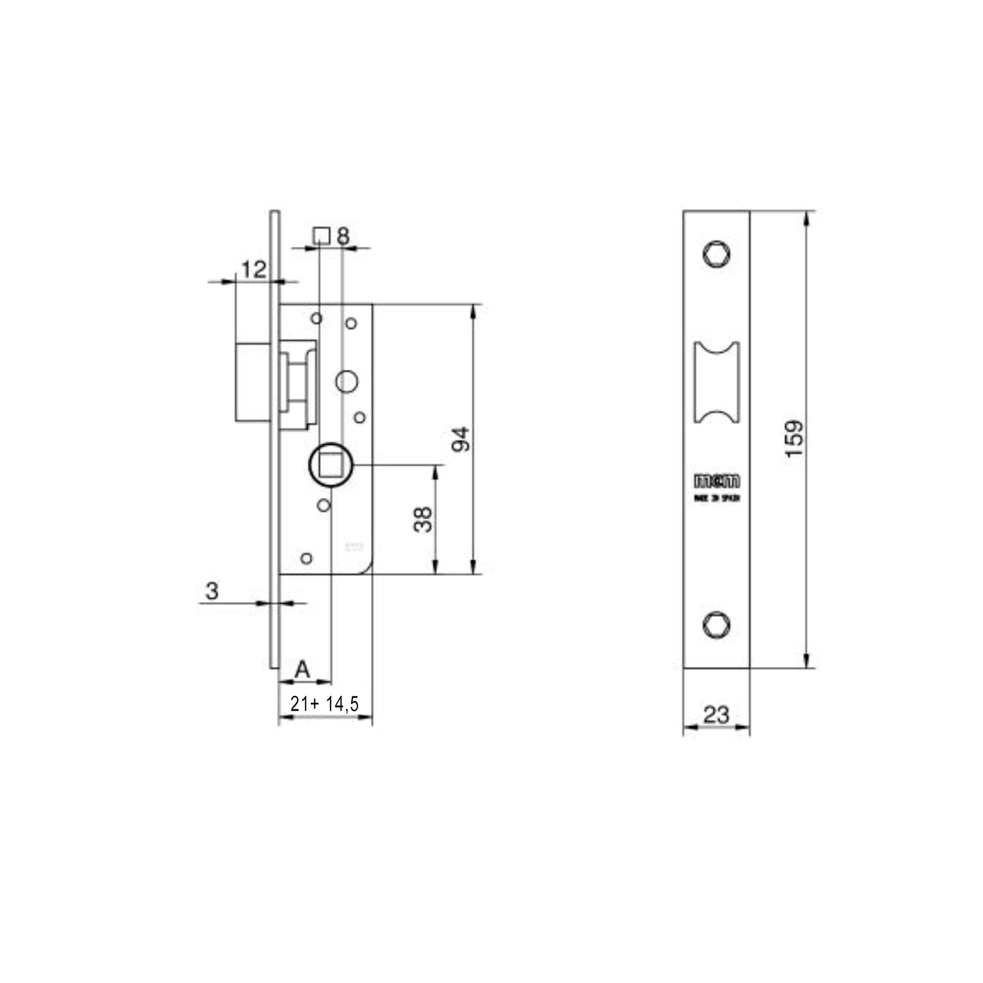 Imagen de Cerradura embutir MCM 1548-21 sin cilindro